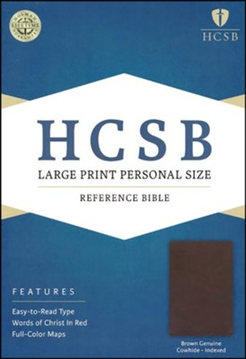 HCSB Large Print Personal Size Bible, Brown Genuine Cowhide, Thumb-Indexed  -