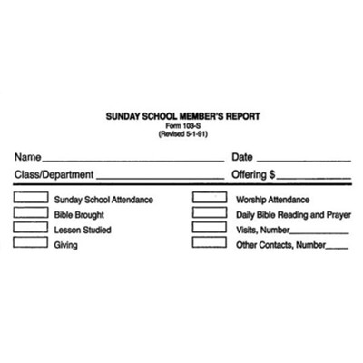 Sunday School Member Report Bill Size Envelope, Form 103-S  -
