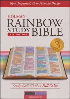 KJV Holman Rainbow Study Bible, Brown and Lavender LeatherTouch   -