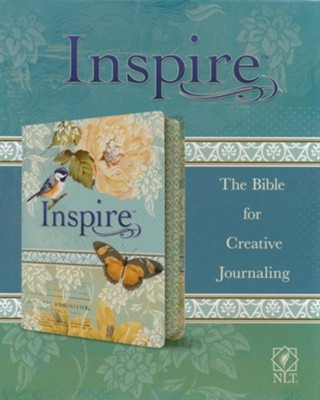 NLT Inspire Bible: The Bible for Creative Journaling, LeatherLike, Silky Vintage Blue/Cream  -