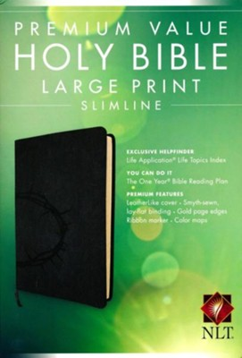 NLT Premium Value Slimline Bible Large Print, Imitiation Leather, Onyx with Crown of Thorns Design  -