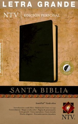 Biblia NTV Ed. Personal Letra Gde., Piel Imit. Verde Olivo, Ind.    (NTV Personal Size LgPt Bible, O. Green Imit. Leather, Ind.)  -