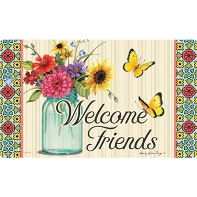 Welcome Friends (floral in jar), Floor Mat  -     By: Sandy Clough