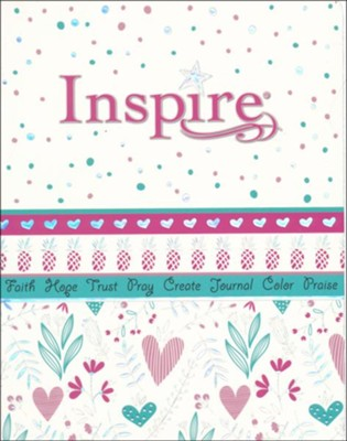 NLT Inspire Bible for Girls, Leatherlike Hardcover, Pink  -     By: Tyndale, Christian Art