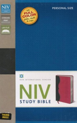 NIV Study Bible--soft leather-look, charcoal/pink, personal  size, thumb indexed  -