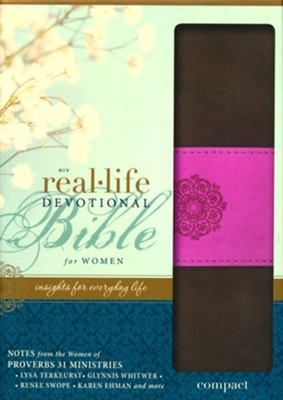 NIV Real-Life Devotional Bible for Women, Compact: Insights for Everyday Life, Italian Duo-Tone, Chocolate/Orchid  -     By: Lysa TerKeurst