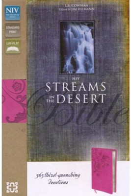 NIV Streams in the Desert Bible: 365 Thirst-Quenching Devotions, Italian Duo-Tone, Raspberry  -