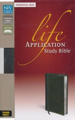 NIV Life Application Study Bible, Personal Size Indexed, Italian Duo-Tone, Bark/Dark Moss  -