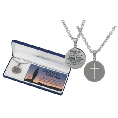 Serenity Prayer, Cut Out Cross, Men's Necklace, Stainless Steel  -