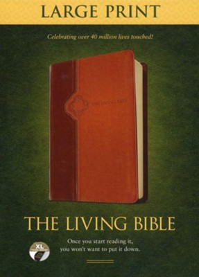 The Living Bible Large Print Edition, TuTone, LeatherLike, Tan, With thumb index  -     By: Tyndale