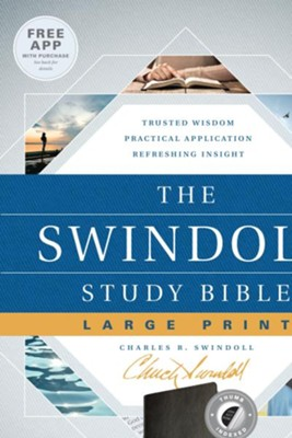 NLT The Swindoll Study Bible Large Print LeatherLike, Black Indexed  -     By: Charles R. Swindoll