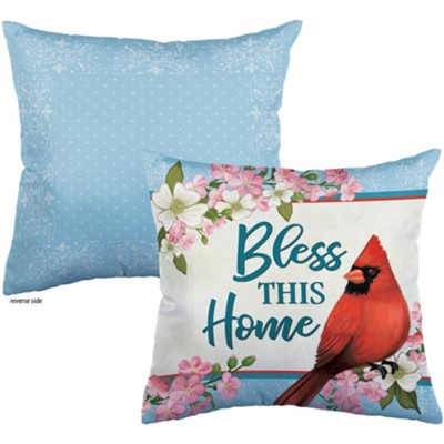 Bless This Home, Cardinal and Blossoms, Pillow  -