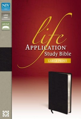 NIV Life Application Study Bible, Large Print, Bonded Leather, Black  -