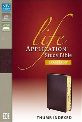 NIV Life Application Study Bible, Large Print, Bonded Leather, Burgundy, Thumb Indexed - Slightly Imperfect  -