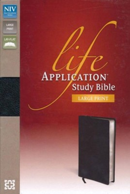 NIV Life Application Study Bible, Large Print, Bonded Leather, Black, Thumb Indexed  -