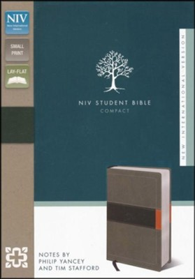 NIV Student Bible, Compact, Italian Duo-Tone,  Concrete/Fatigue  -