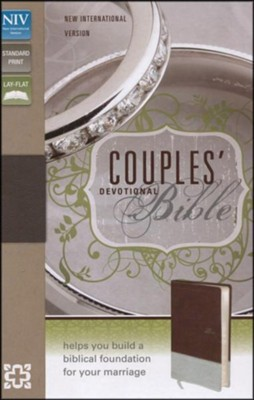 NIV Couples' Devotional Bible, Italian Duo-Tone, Chocolate/Silver - Slightly Imperfect  -