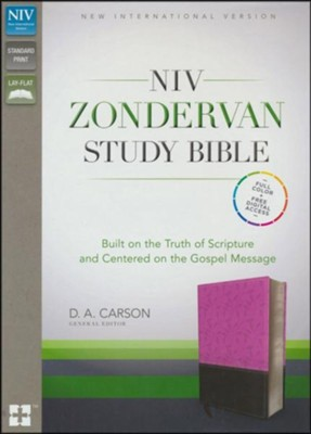 NIV Zondervan Study Bible--soft leather-look, orchid/chocolate  -     Edited By: D.A. Carson     By: Various Authors