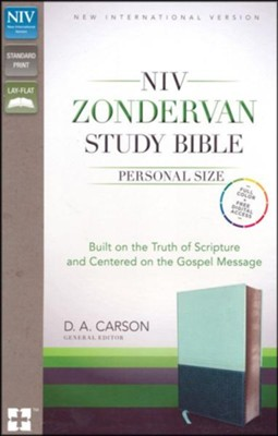 NIV Zondervan Study Bible, Personal-Size; Soft Leather-look, Sea glass/caribbean blue  -     Edited By: D.A. Carson