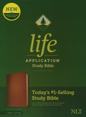 NLT Life Application Study Bible, Third Edition--soft leather-look, brown/tan (red letter)  -