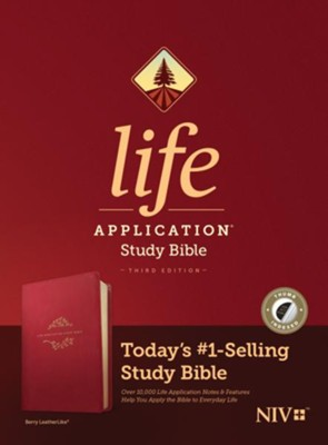NIV Life Application Study Bible, Third Edition--soft leather-look, berry (indexed)  -
