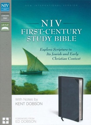 NIV First-Century Study Bible, Italian Duo-Tone, Black/Dark Charcoal  -     Edited By: Kent Dobson
