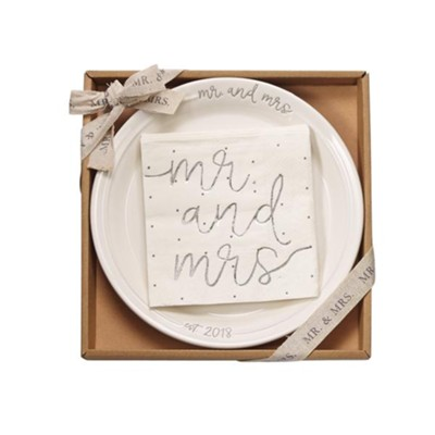 Mr And Mrs Dessert Set, Plate With 12 Paper, Silver Foiled Napkins  -