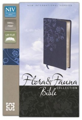 NIV Flora and Fauna Collection Bible, Compact, Italian Duo-Tone, Marina Blue/Floral  -