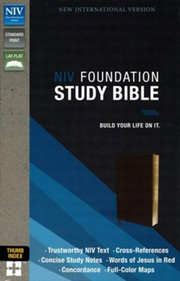 NIV Foundation Study Bible--soft leather-look, earth brown (indexed)  -