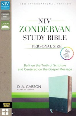 NIV Zondervan Study Bible, Personal Size, Imitation Leather, light blue/turquoise - indexed  -     Edited By: D.A. Carson