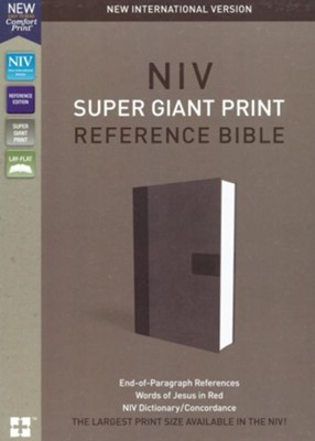 NIV, Super Giant Print Reference Bible, Imitation Leather, Gray  -     By: Zondervan