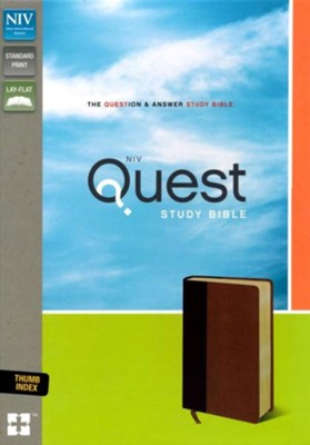 NIV, Quest Study Bible, Imitation Leather, Burgundy and Tan, Thumb Indexed  -     By: Christianity Today Intl.