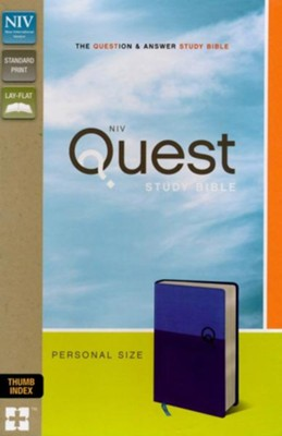NIV, Quest Study Bible, Personal Size, Imitation Leather, Blue, Thumb Indexed  -     By: Christianity Today Intl.
