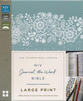 NIV, Journal the Word Bible, Large Print, Imitation Leather, Blue and Tan  -     By: Zondervan
