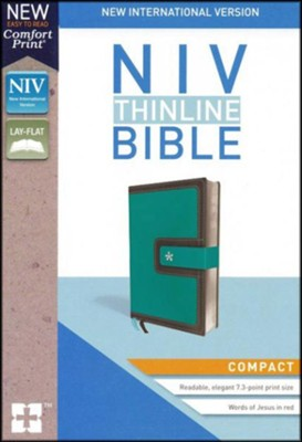 NIV Thinline Bible Compact Blue and Brown, Imitation Leather  -