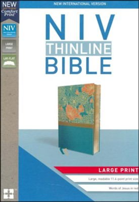 NIV Thinline Bible Large Print Blue, Imitation Leather  -