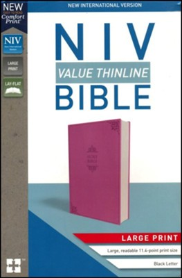 NIV Value Thinline Bible Large Print Pink, Imitation Leather  -