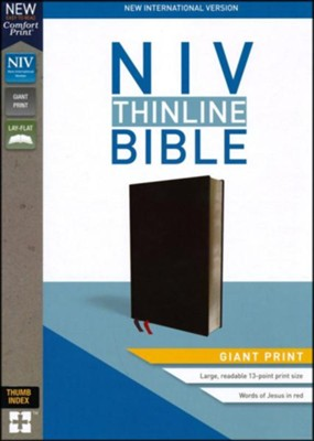 NIV Thinline Bible Giant Print Black Bonded Leather, Indexed  -