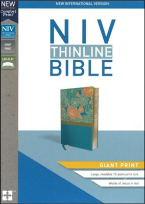 NIV Thinline Bible Giant Print Blue, Imitation Leather  -