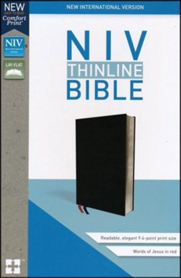 NIV Thinline Bible Black, Bonded Leather  -