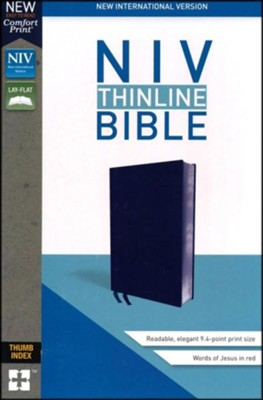 NIV Thinline Bible Navy, Bonded Leather, Indexed  -