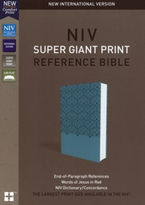 NIV Super Giant-Print Reference Bible--soft leather-look, blue  -