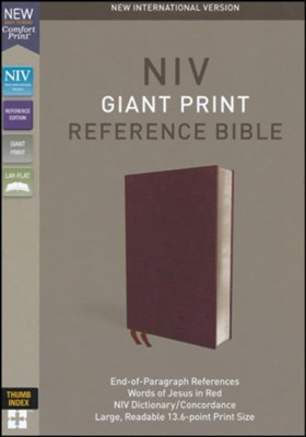 NIV Comfort Print Reference Bible, Giant Print, Bonded Leather, Burgundy, Indexed  -