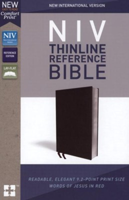 NIV Comfort Print Thinline Reference Bible, Bonded Leather, Black  -