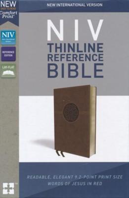 NIV Comfort Print Thinline Reference Bible, Imitation Leather, Brown  -