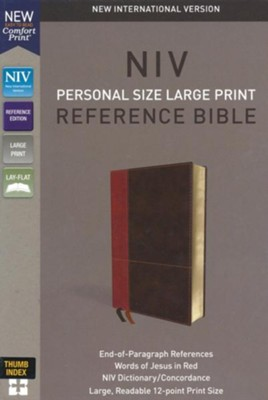 NIV Comfort Print Personal Size Reference Bible, Large Print, Imitation Leather, Brown, Indexed  -
