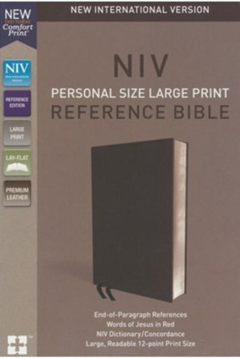 NIV Comfort Print Personal Size Reference Bible, Large Print, Premium Leather, Black  -