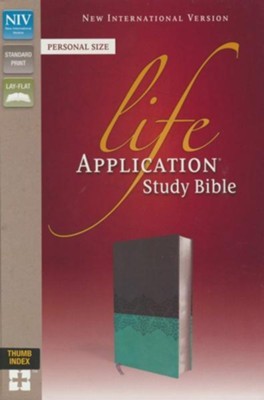 NIV, Life Application Study Bible, Personal Size, Imitation Leather, Gray/Blue, Indexed, Red Letter Edition  -