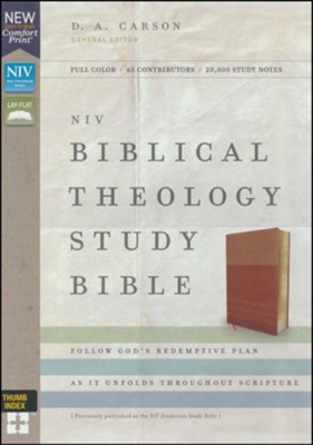 NIV Comfort Print Biblical Theology Study Bible, Imitation Leather, Tan and Brown, Indexed  -     By: D.A. Carson