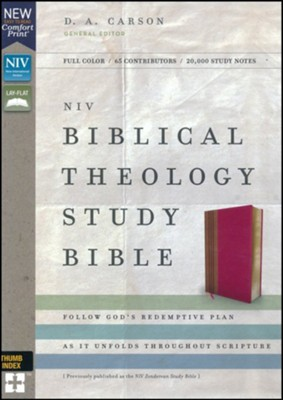 NIV Comfort Print Biblical Theology Study Bible, Imitation Leather, Pink and Brown, Indexed  -     By: D.A. Carson